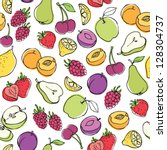 fruit doodles seamless vector | Shutterstock .eps vector #128304737