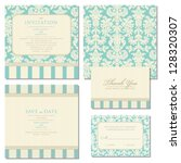 Set of wedding invitations and announcements with vintage background artwork. Ornate damask background - stock vector