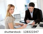 woman meeting lawyer to set up... | Shutterstock . vector #128322347