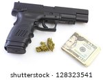 Drug Trade Wealth/Handgun, marijuana buds & US currency against white background - stock photo