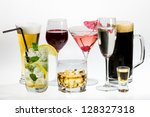 Various types of alcohol on a white background - stock photo