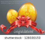 happy easter greeting card with ... | Shutterstock .eps vector #128330153