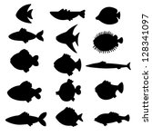 Vector Black Silhouettes Fish...