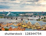 Riga, Latvia, cityscape from Latvian Academy - stock photo