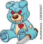 evil teddy bear. vector clip... | Shutterstock .eps vector #128365607