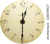 old antique wall clock isolated ... | Shutterstock . vector #128378417