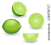 limes  four views  whole  half  ... | Shutterstock .eps vector #128378717