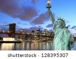 brooklyn bridge and the statue... | Shutterstock . vector #128395307