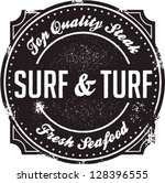 Surf and Turf Fine Dining Stamp - stock vector
