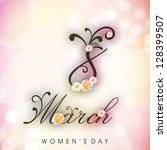 Happy Women's Day background or greeting card with text Women's Day. - stock vector