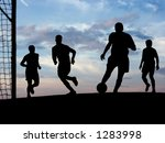 players playing soccer outdoors. | Shutterstock . vector #1283998