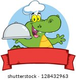 Crocodile Chef Holding A Platter Over A Blank Banner - stock vector