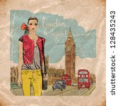 fashion girl in london.vector... | Shutterstock .eps vector #128435243