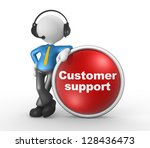 3d people - man, person with headphones and a button. Customer support. Businessman - stock photo