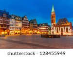 Historic Center of Frankfurt at dusk - stock photo