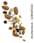 Trail mix isolated on white background.  Overhead view. - stock photo