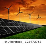 solar energy panels with wind... | Shutterstock . vector #128473763