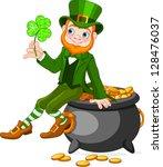 cute  cartoon leprechaun... | Shutterstock .eps vector #128476037