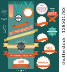 set of retro ribbons and labels | Shutterstock .eps vector #128501783
