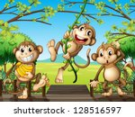 Illustration Of Monkeys At The...