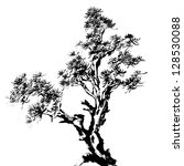 Chinese traditional ink painting, pine tree on white background. - stock photo