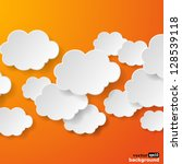 Abstract speech bubbles in the shape of clouds used in a social networks on orange background. Vector eps10 illustration - stock vector