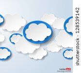 Abstract speech bubbles in the shape of clouds used in a social networks on light blue background. Vector eps10 illustration - stock vector
