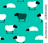 2D vector of a black sheep amongst white sheep on a green solid background, eps8. - stock vector