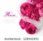 Roses on the white with space for text - stock photo