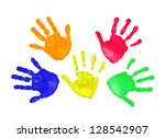 set of colorful hand prints in... | Shutterstock . vector #128542907
