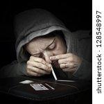 drug abuse  woman taking drugs  ... | Shutterstock . vector #128548997