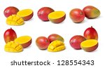 half cut and whole mango fruits ... | Shutterstock . vector #128554343