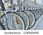 Bicycles on the street in center of Brussels - stock photo