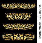 Retro gold floral elements and embellishments set for design and decorate. Jpeg version also available in gallery - stock vector