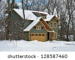 new house in winter - stock photo