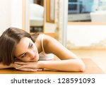 portrait of young woman at home ... | Shutterstock . vector #128591093