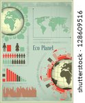 Infographics Eco Planet Earth and Construction. The Concept of Global Construction. Vector illustration. - stock vector