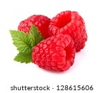 Ripe raspberry with leaf - stock photo
