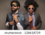 Funky fashion Afro men - stock photo