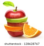 apples and orange fruit isolated | Shutterstock . vector #128628767