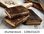 Antique Books On Aged White...
