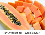 Sweet papaya close up isolated - stock photo