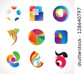 abstract multiple colorful business icons template vector illustration - stock vector