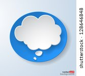 Abstract paper speech bubble on light blue background. Vector eps10 illustration - stock vector