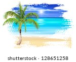 Palm tree on the beach. Vector drawing / Eps10 - stock vector