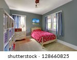 Kids teenager  with red bed and grey walls. - stock photo