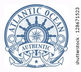 Grunge rubber stamp with the words Atlantic Ocean written inside the stamp - stock vector