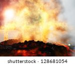 Huge volcanic eruption on land - stock photo