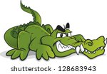 alligator,cartoon,crawling,crocodile,dangerous,evil,fangs,green,grinning,illustration,lying down,monster,smile,teeth,vector