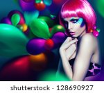 woman with colourful make up... | Shutterstock . vector #128690927